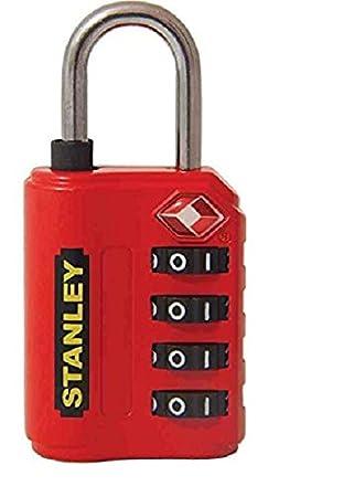 Stanley 81151393401 Candado de combinación de 4 dígitos con indicador de seguridad Rojo, 30 mm: Amazon.es: Bricolaje y herramientas