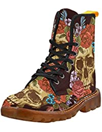 Shoes Skull and Flower Lace Up Martin Boots For Women