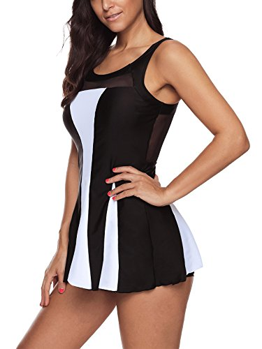 d1e79fe984abb Durio Womens Swimdress Tummy Control One Piece Swimsuit Swim Dress Bathing  Suits Swimwear with Boyshort for Women