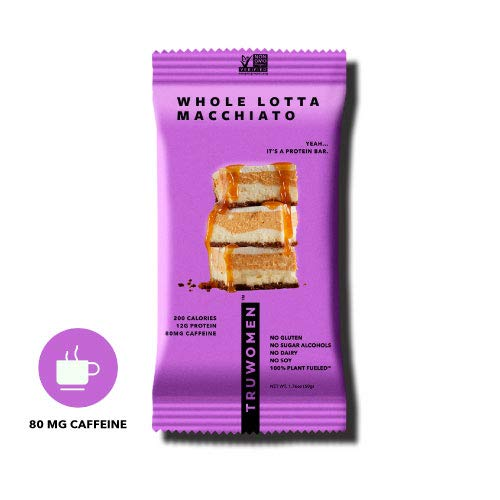 TRUWOMEN Plant Fueled Protein Bars, Whole Lotta Macchiato, (12 Count) | Non-GMO, Vegan, Gluten Free, Kosher, Soy Free, Dairy Free, Healthy Snack Bar, Natural Ingredients | 12g Protein