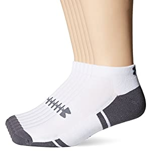 Under Armour Men's Resistor III Lo Cut Socks (6 Pack), White/Graphite, Large