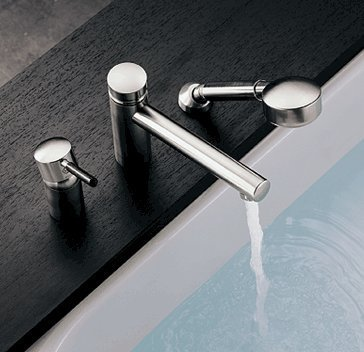 essence Roman Tub Bath Faucet w/ Hand Shower, Single Handle Brushed Nickel ()