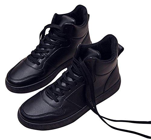 Zapatillas De Deporte De Moda Para Los Hombres De Tacón Alto, Zapatos Planos De Deporte Zapatos De Senderismo De Cuero 2 Colores Tamaño 6.5-9 Negro