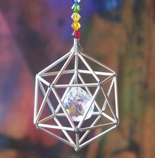 Silver Tone Pendulum - Silver Tone Icosahedron Suncatcher Mobile with Chakra Theme Swarovski Crystals
