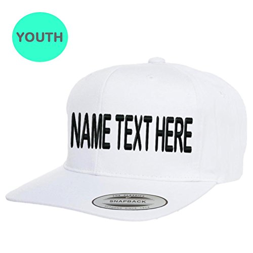 aface7e7f76 Caprobot iD Custom Embroidery Baseball Cap Persolized Name Text Team  Yupoong Youth Junior Flat Brim Snapback Hat - White