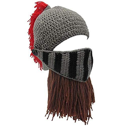 Creative Original Barbarian Knit Hair Beard Hat and Roman Knight Helmet Visor Cosplay Knit Beanie Hat (Roman Beard)