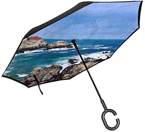 灯台 ユニセックス二重層防水ストレート傘車逆折りたたみ傘C形ハンドル付き