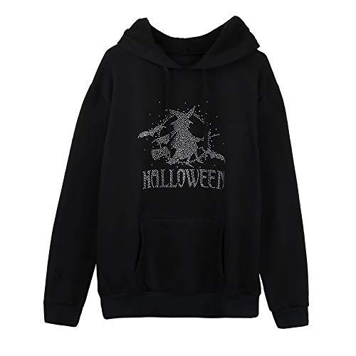 TWGONE Halloween Womens Tops Plus Size Long Sleeve Pocket Hooded Neck Blouse Sweatshirt(US-10/CN-L,Black) -