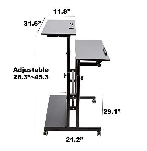 SIDUCAL Mobile Stand Up Desk, Adjustable Laptop Desk with Wheels Storage Desk Home Office Workstation, Rolling Table… 4
