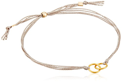 Dogeared Friendship Gold Dipped Double Link Taupe Silk Adjustable Closure Bracelet by Dogeared (Image #2)