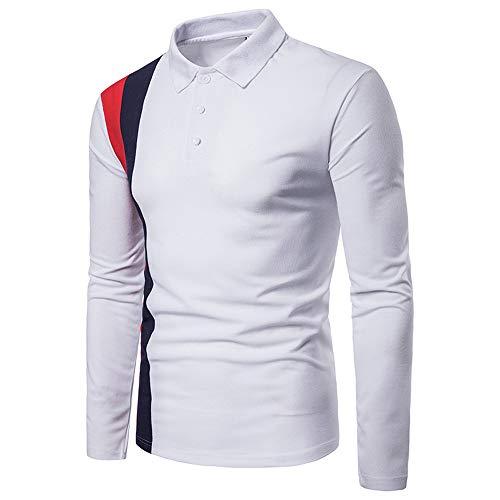 Malloom Patchwork Rabattu Top Longues Hiver Chemise À Col Manches Automne Blouse Hommes Blanc BwnpAB6rq