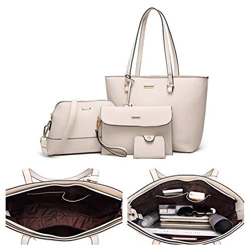 9dc08c958d64 ELIMPAUL Women Fashion Handbags Tote Bag Shoulder Bag Top Handle Satchel  Purse Set 4pcs  Amazon.co.uk  Shoes   Bags