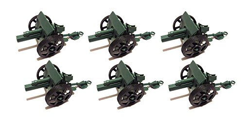Toy Essentials 6 Pcs Army Green Cannons with Moving Wheels (4 Inches)
