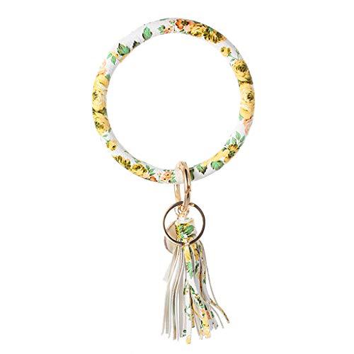Bracelet Keychain,Crytech Trendy Floral Large Leather Bracelet Key Ring Wirh Threaded Tassel Key Chains Keyring for Women Men Purse Car Keys Handbag Backpack Birthday Gifts (Floral)