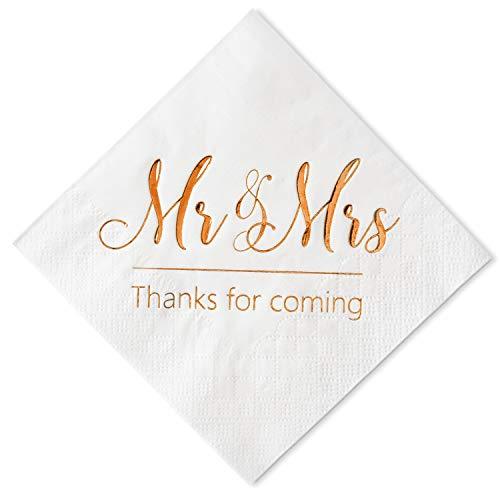 Crisky Wedding Napkins Mr Mrs Rose Gold Cocktail Beverage Dessert Napkins for Wedding Tabel Decoration Engagement Party Supplies, 100 Pcs, 3-Ply