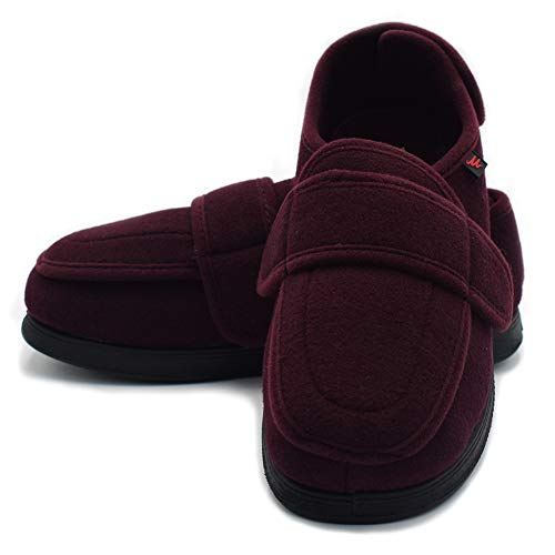 Mei MACLEOD Diabetic Edema Swelling Feet Lymphedema Stroke Victim Extra  Wide Width Closures Shoes (7(Women),WineRed)