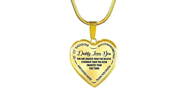 Personalized Quote to My Daughter Necklace 18K Gold Plated Stainless Steel Mommy Daughter Heart Pendant Necklace Best Gifts Ideas for Girls on Birthday from Mom