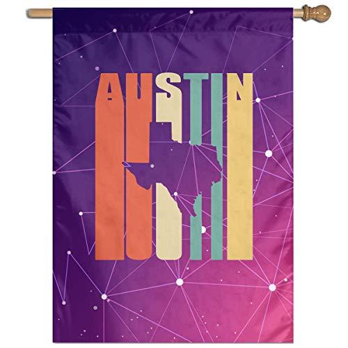 DJIEZI Vintage Austin Texas Vertical Garden Flag Family Party Flag Only One Side 27