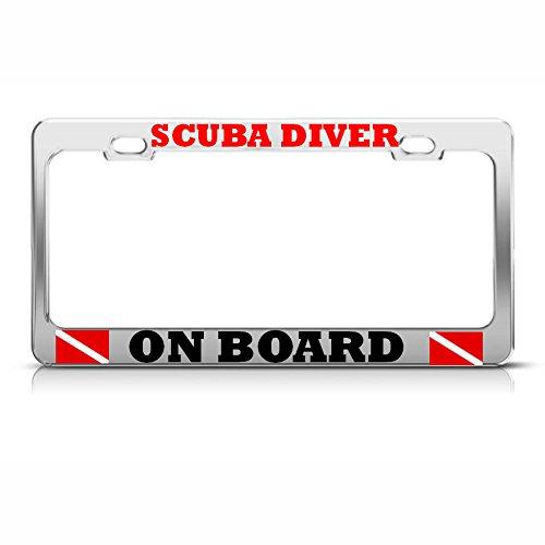 Scuba Diver ON Board License Plate Frame Metal Love Scuba Diving Tag Border Perfect for Men Women Car garadge Decor