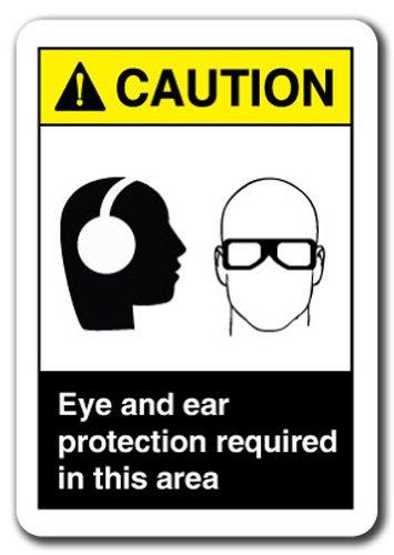 Señal de advertencia - ojos y protección para los oídos ...