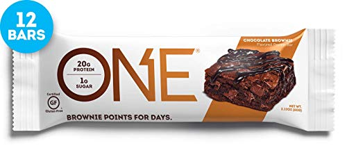 Cookie Brownie Bars - ONE Protein Bars, Chocolate Brownie, Gluten Free Protein Bars with 20g Protein and only 1g Sugar, Guilt-Free Snacking for High Protein Diets, 2.12 oz (12 Pack)