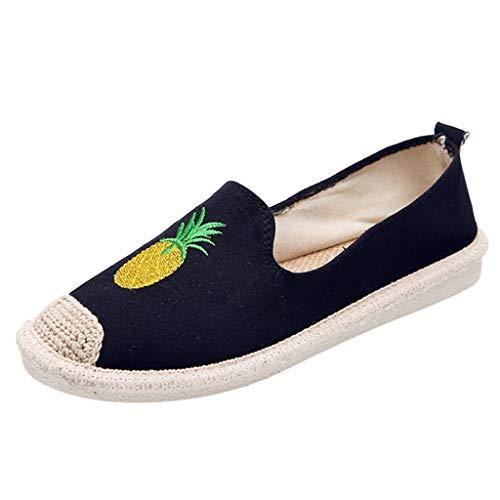 QBQCBB M199 Ms. Pineapple Fisherman's Shoes Essence Flat Shoes Shoes Work Shoes(Black,40)