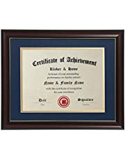 ELSKER&HOME 8.5×11 Certificate Frame - Classic Cherry Wood Color - 2.0 mm Panels - 8.5×11 Inch with Mat -11×14 Inch Without Mat - for Document/Photo