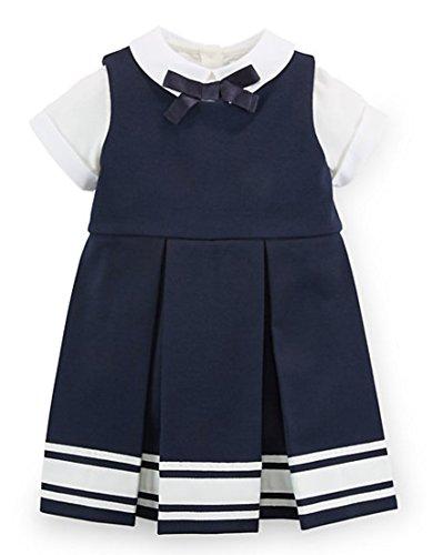 Ralph Lauren Baby Girls' Bow Top & Pleated Dress Set (6 MONTHS, AVIATOR NAVY)