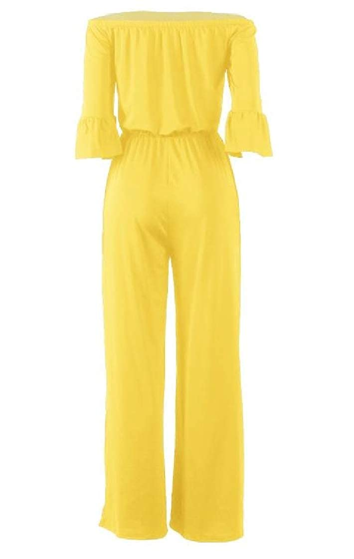 CrazyDay Womens Elastic-Waist Wide Legs Solid Off-Shoulder Casual Jumpsuit Trousers
