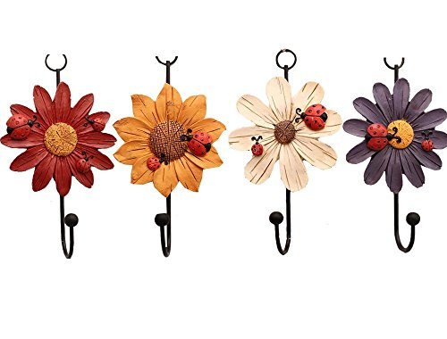 Creative Daisy Resin Wall Hooks Wall Mounted Art Flower Iron Hook Hand-painted Hanging Coat / Hat /Key/ Towel Hooks Home Decoration(Set of 4) by Skyling