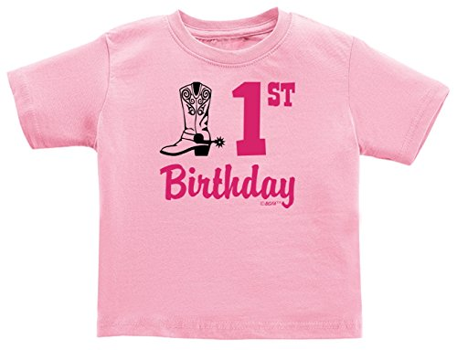 1st Birthday Girl 1st Birthday Gift Country Cowgirl Boots Infant T-Shirt 12 Months Pink (Cowgirls Outfits Ideas)