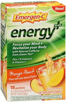 Emergen-C Energy+ Fizzy Drink Mix Packets Mango-Peach - 18 packets, Pack of 4