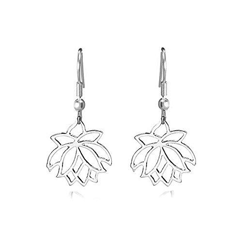WLLAY Fashion Open Lotus Flower Dangle Hook Earrings Jewelry 3 Colors for Women (Spring Flower Dangle)