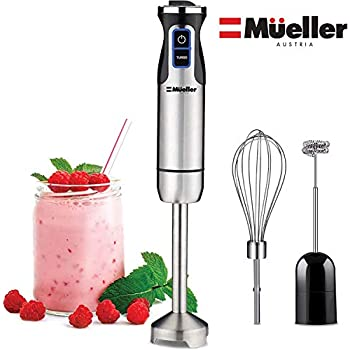Mueller Austria Ultra-Stick 500 Watt 9-Speed Immersion Multi-Purpose Hand Blender Heavy Duty Copper Motor Brushed Stainless Steel Finish With Whisk, Milk Frother Attachments, Silver