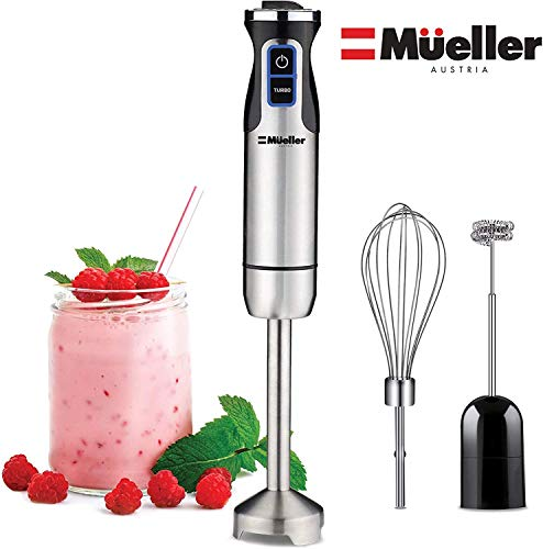 Mueller-Austria-Ultra-Stick-500-Watt-9-Speed-Immersion-Multi-Purpose-Hand-Blender-Heavy-Duty-Copper-Motor-Brushed-Stainless-Steel-Finish-With-Whisk-Milk-Frother-Attachments-Silver