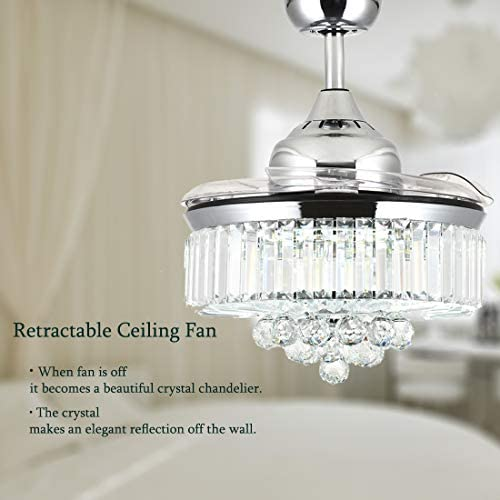 Moooni Dimmable Fandelier Crystal Ceiling Fans with Lights and Remote Modern Invisible Retractable Chandelier Fan LED Ceiling Fan Light Kit Polished