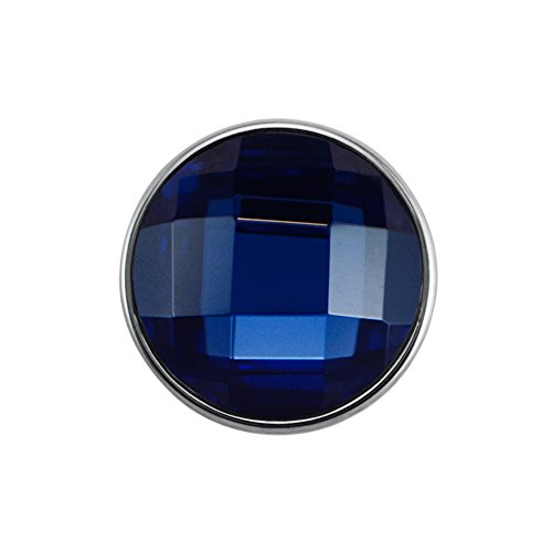 Quiges, Eligo Bijoux 30mm Drak Blue Diamond Cut verre Bouton Pression pour 30mm d'accrochage Bracelets Button