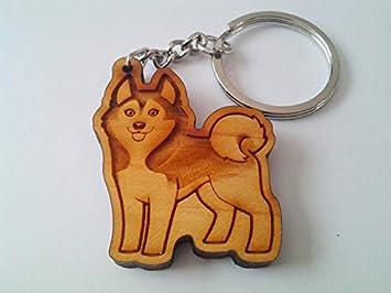 Amazon.com: Husky siberiano de madera llavero, llavero de ...