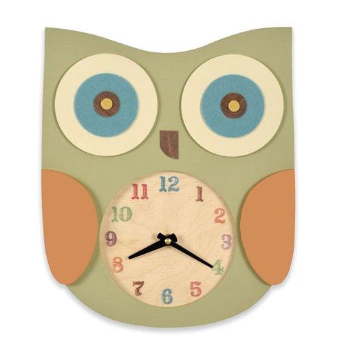 Tree by Kerri Lee Owl Clock, Green CLOCK OWL GRN