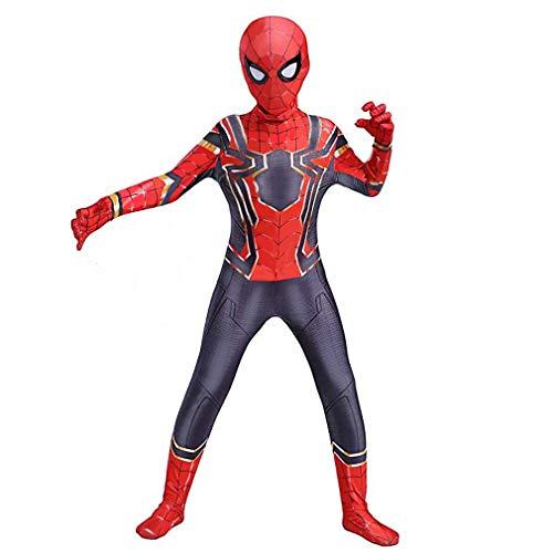 Superhero Costume, Zentai Spiderman Bodysuit for Kids Halloween Cosplay Lycra Spandex Jumpsuit (7-8T) Red