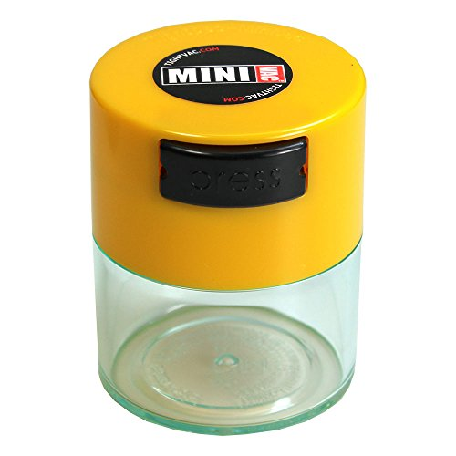 Minivac - 10g to 30 grams Airtight Multi-Use Vacuum Seal Portable Storage Container for Dry Goods, Food, and Herbs - Yellow Cap & Clear Body
