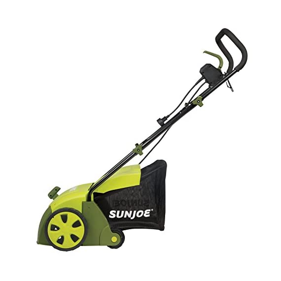 "Sun Joe AJ801E 13 in. 12 Amp Electric Scarifier + Lawn Dethatcher w/Collection Bag, Green 3 <p>LET YOUR LAWN BREATHE. Get your lawn in top green shape with the Sun Joe Dethatcher Joe AJ801E 12.6-inch electric scarifier + lawn dethatcher. Powered by a robust 12-amp motor, the Dethatcher Joe rakes a 12.6-inch wide path in a single pass to get your job done fast. Enhancing its raking ability is Airboost technology, which maximizes thatch pickup with spring steel tines that stay sharp longer for reliable performance. Use the 5-position depth control knob to tailor the raking depth from -0.4 in. (10 mm below the soil) to 0.4 in. (10 mm above the soil), depending on your lawn's scarifying or dethatching needs. Scarifying your lawn at regular intervals cuts grass roots and encourages growth for thicker, healthier turf. Thatch is a dense mat of roots, stems and grass clippings that accumulates on lawns over time, blocking the flow of water, oxygen and vital nutrients. It is important to periodically remove thatch in order to keep your lawn green and healthy. While ordinary manual rakes are tiresome to use and not very effective, the electric Dethatcher Joe starts instantly with the push of a button and easily gets the job done without polluting the atmosphere with toxic carbon emissions. No gas, oil or tune-ups make the Sun Joe Dethatcher Joe your green choice for greening your lawn. ETL-approved. 2-year warranty. Powerful: 12-amp motor rakes a 13"" wide path to get your job done faster Adjustable deck: tailor raking depth with 5-position depth control Scarified: use the Scarified function to cut grass roots for thicker growth, healthier lawns Air boost technology: spring Steel tines for maximum thatch pickup Accessories: detachable thatch collection bag for easy disposal We've got you covered! : your new Dethatched is backed by the snow Joe + Sun Joe customer promise. We will warrant New, powered products for two years from the date of purchase. No questions asked. Contact snow Joe + Sun Joe customer Support at 1-866-766-9563 for further assistance.</p>"