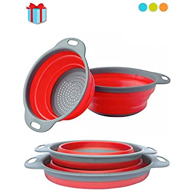 Colander Set - 2 Collapsible Colanders (Strainers) Set By Comfify - Includes 2 Folding Strainers Sizes 8  - 2 Quart and 9.5  - 3 Quart Red and Grey