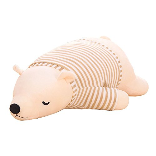 MMTTAO Polar Bear Stuffed Animal Plush Toys 18 Inch Animals Stuffed Dolls Large White Sleeping Bear Collection Huggable Pillow Cushion for Kids Child Boys Girls Gifts, Polar Bear, White, 18Inches ()