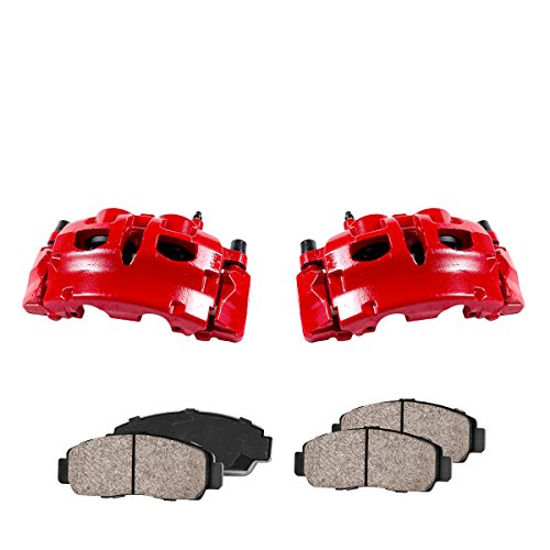 CCK01120 [2] FRONT Performance Loaded Powder Coated Red Caliper Assembly + Quiet Low Dust Ceramic Brake -