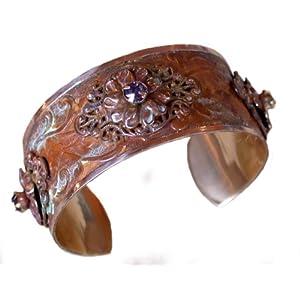 Victorian Floral Filigree Motif Cuff - Swarovski Crystals 1