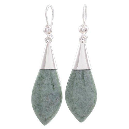 NOVICA Light Green Jade .925 Sterling Silver Dangle Earrings Maya Lance of Afterlife