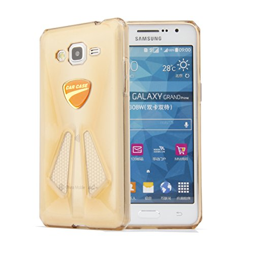 G5308 Samsung Galaxy Grand Prime G530H, AnoKe@ Koppu (Premium Quality) -Crystal Clear-Sports car Style- Scratch-Resistant Soft, Flexible, TPU, Protective Case, Non slip, Water resistant, Elegant Ultra Slim Design, for Samsung Galaxy Grand Prime G530H (Car Gold)