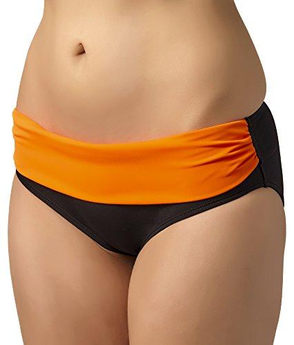 Merry Style Shorts de Ba?o para Mujer Modelo Claudia Negro/Naranja Neón (2154)