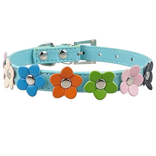 Beirui Cute PU Leather Dog Collars Flower Pattern Blue 14-18